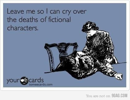 Crying over the deaths of fictional characters